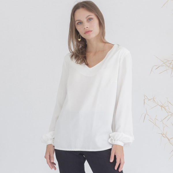 Organic white blouse for women